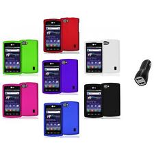 Color Hard Snap-On Skin Case Cover+2.1A Charger for LG Optimus M+ Plus MS695