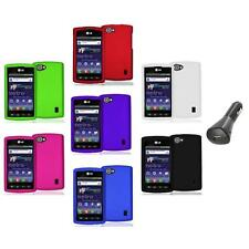 Color Hard Snap-On Skin Case Cover+Car Charger for LG Optimus M+ Plus MS695