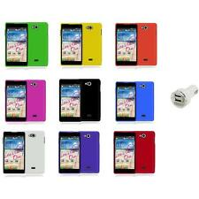 For LG Spirit 4G MS870 Color Hard Snap-On Rubberized Case Cover+Dual Charger