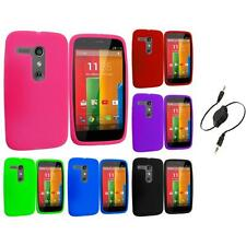 For Motorola Moto G Silicone Rubber Skin Case Cover Accessory Aux Cable