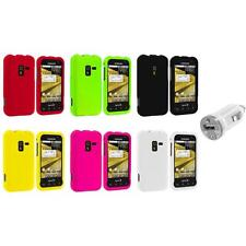 Color Hard Snap-On Rubberized Case Cover+USB Charger for Samsung Conquer 4G D600