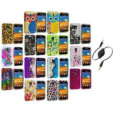 Design Hard Rubberized Case Cover+Aux Cable for Samsung Sprint Galaxy S2 S II