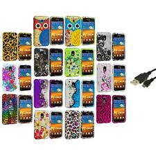 Design Hard Rubberized Case Cover+USB Cable for Samsung Sprint Galaxy S2 S II