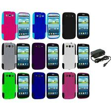 Color Hybrid Mesh Hard Soft Case Cover+Wall Charger for Samsung Galaxy S3 S III