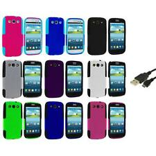 Color Hybrid Mesh Hard Soft Case Cover+USB Cable for Samsung Galaxy S3 S III
