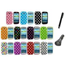 TPU Polka Dot Case Cover Accessory+Charger+Pen for Samsung Galaxy S3 S III i9300
