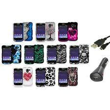Design Hard Snap-On Rubberized Case Cover+Charger+USB for ZTE Avid 4G N9120
