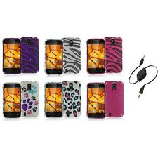 For ZTE Force N9100 Bling Rhinestone Design Hard Case Cover+Aux Cable