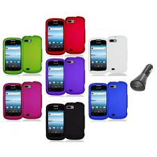 Color Hard Snap-On Rubberized Case Cover Accessory+Car Charger for ZTE Fury N850