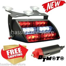 LED Fire Fighter EMS Emergency Warning Police Dash Light Vehicle Red White Car
