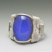Color Changing Mirage Mood Cabochon Sterling Silver Wire Wrap Ring - Ships Fast!