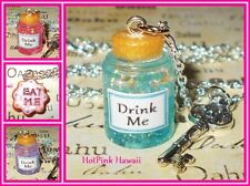 DRINK ME Alice Wonderland Charm Bottle Silver Plated Necklaces EAT ME Cookie BF