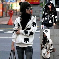 Fashion Womens Gothic Skull Printed Hoodie Coat Casual Loose Zip Jacket Outwear
