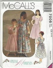 McCalls Sewing Pattern # 7006 Girls Dress in 2 Lengths Choose Size