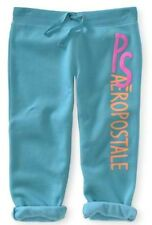 NEW Teal PS Aeropostale Girls Kids Puffy Cinched Fleece Capris Pants Sz 4 or 5