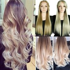 UK Long Curly Straight Full Head Wig Cosplay Party Daily Dress Ombre Blonde R39