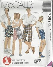 McCalls Sewing Pattern # 7089 Unisex Shorts in 3 Lengths Choose Size