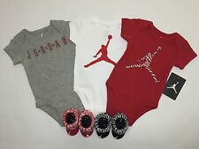 AIR JORDAN 5-piece Outfit Gift Set: Bodysuits/Rompers & Booties 0-6 Months.