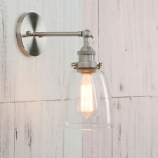Industrial Style Clear Glass Wall Lamp Antique Brass Vintage Sconce Light