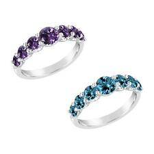 Sterling Silver 925 Round Amethyst or Swiss Blue Topaz Ring