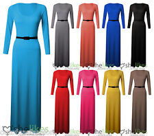 New Womens Ladies Scoop Neck Jersey Belted Long Maxi Dress Skater 8-26 Oversize