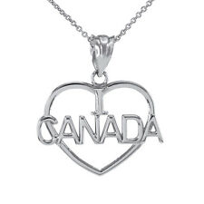 White Gold Open Heart Shaped I Love CANADA Pendant Necklace