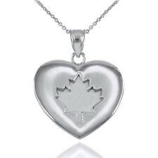 925 Sterling Silver Maple Leaf Heart Pendant Necklace