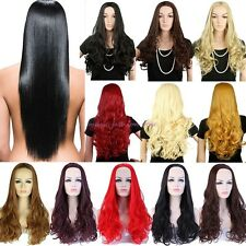Long Straight Curly Half Wig Cosplay Party Daily Dress Real Thick Silky Soft Y24
