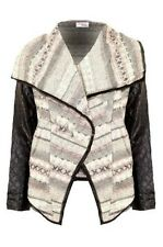 Ladies Long Sleeved Open Front Contrast PVC Leather Textured Women's Jacket