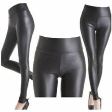 New Ladies Sexy Shiny Wet Look Black Leather Full Ankle Length Leggings All Size