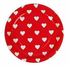 6X Red White Heart Dots Tableware Plates Birthday Party Supplies Decorations
