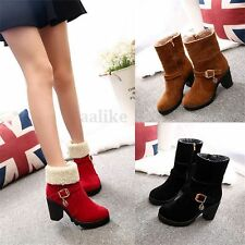 New Women Mid Calf Boots High Block Heel Booties Winter Pumps Fashion Lady Shoes