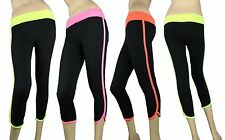 COLOR CONTRAST BAND CAPRI PANTS YOGA Legging Foldover Waist Soft Span Gym Skinny