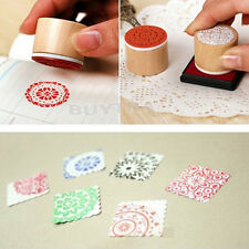 Chic Design 6 Patterns Round Wooden Rubber Retro Floral Pattern Stamps Stamp Hot