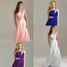Hot Chiffon Shoulder-Hole Long Bridesmaid Dress Evening Party Formal Prom Gown