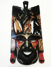 Maasai Wood Carved Mask. Wooden Mask By Masai Kenya. Wood Decor Maasai- Handmade