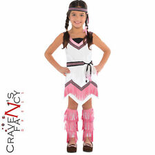 Girls Red Indian Costume Native American Spirit Squaw Fancy Dress Outfit New
