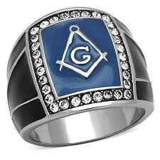Men's Stainless Steel Mason Masonic Freemason Rectangle Blue  Black Lodge Ring