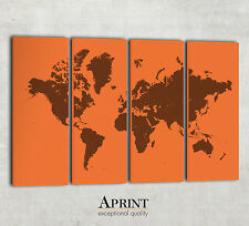 Modern World wall map canvas - Custom colours - 4 Panel Canvas - Ready to hang