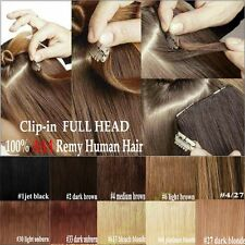 """7PCS/8PCS 18""""20""""22"""" Clip In Remy Real 100% Human Hair Extensions Full Head V394"""