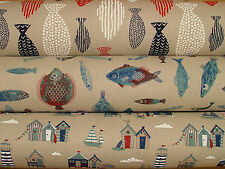 Coastal Nautical Seaside Linen Look Designs Curtain Upholstery Quilting Fabric