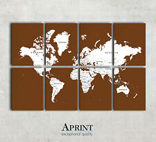 Modern World wall map canvas - Custom colours - 8 Panel Canvas - Ready to hang