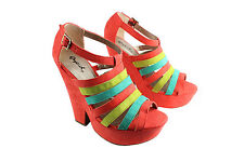 Qupid Platform Wedge Sandal-Open Toe Anckle Cage Strappy High Heel Pump Shoes