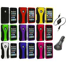 Color Black 3-Piece Rubberized Hard Case+Aux+Charger for iPhone 3G 3GS Accessory