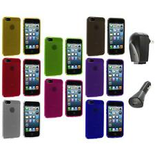 Color Fingerprint Circle TPU Rubber Jelly Case Cover+2X Chargers for iPhone 5 5S