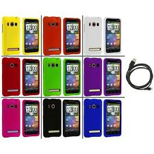 Color Hard Snap-On Rubberized Case Cover+6FT Cable for HTC Sprint EVO 4G