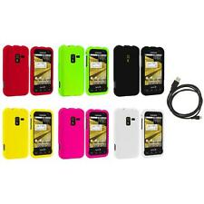 Color Hard Snap-On Rubberized Case Cover+6FT Cable for Samsung Conquer 4G D600