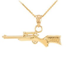 14k Yellow Gold M24 SWS AWP Scope Sniper Rifle Pendant Necklace
