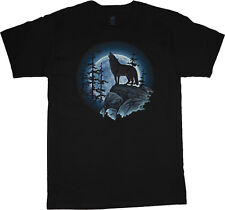 Wolf t-shirt for men lone wolf howling at the moon shirt wolves wolf tshirt mens