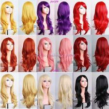 Lady Long Layer Full Wigs Cosplay Party Daily Dress Orange Blonde Red Pink P14